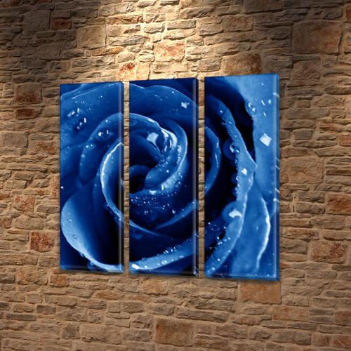 Бутон синей Розы, модульная картина (Цветы) на Холсте син., 65x65 см, (65x20-3)