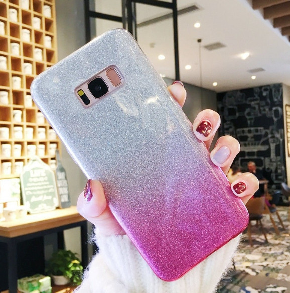 Силиконовый чехол градиент блеск для Samsung Galaxy S6