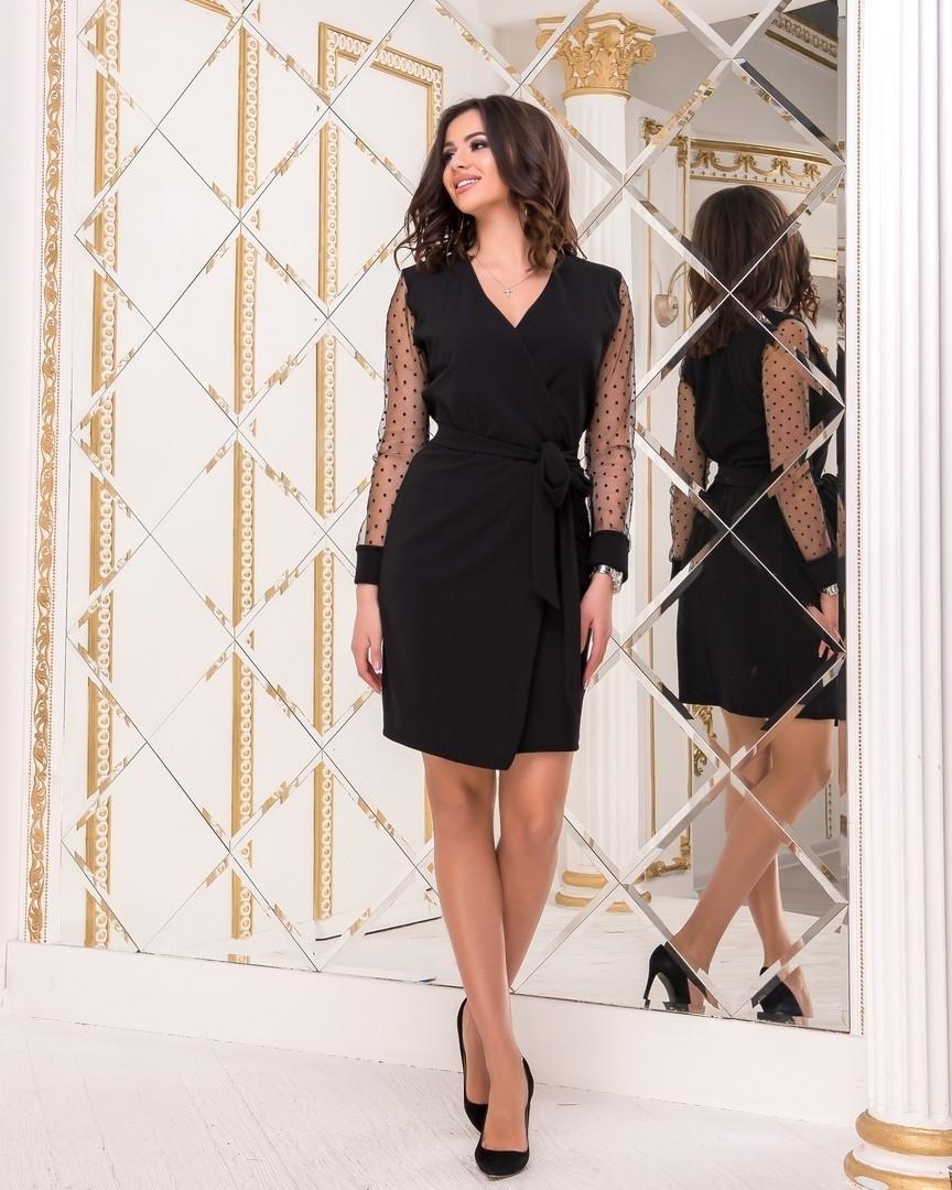 6de27f4e1de Женское платье на запах под пояс рукав из флок-сетки в горошек 42-44 ...