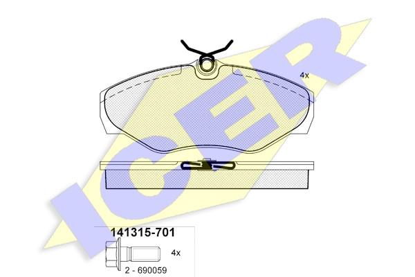 Тормозные колодки передние дисковые Vivaro , Trafic , Primastar ICER 141315-701