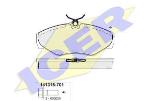 Тормозные колодки передние дисковые Vivaro , Trafic , Primastar ICER 141315 (701)