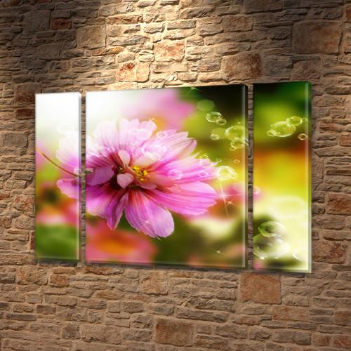 Рассвет в Лесу, модульная картина (Цветы), на Холсте син., 75x100 см, (75x18-2/75х60)