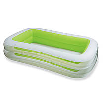 Детский надувной бассейн прямоугольный большой Салатово-белый, 262х175х56, 2 кольца, 749 л, intex 56483