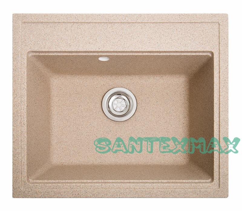 Кухонная гранитная мойка Solid Гросс песок 60x52