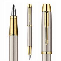 Перьевая ручка Parker цвет шлифованный металл с позолотой
