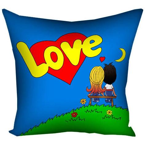 """Подушка """"Love is..."""" (синяя) - Подарок для влюбленных - Любимому подарок - Подарок на 14 февраля"""