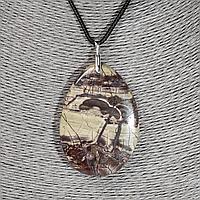 Яшма пейзажная, 60*42 мм., серебро, кулон, 1002КЛЯ, фото 1