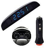 Часы  на панель торпеду автомобильные VST-01s с индикацией заряда АКБ (Вольтметр), и двумя термометром, фото 2
