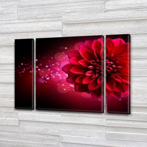 Волшебная Георгина, модульная картина (Цветы), на Холсте син., 75x100 см, (75x18-2/75х60)