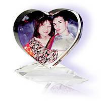 Кристалл с фотографией  XP-13-сердце на подставке