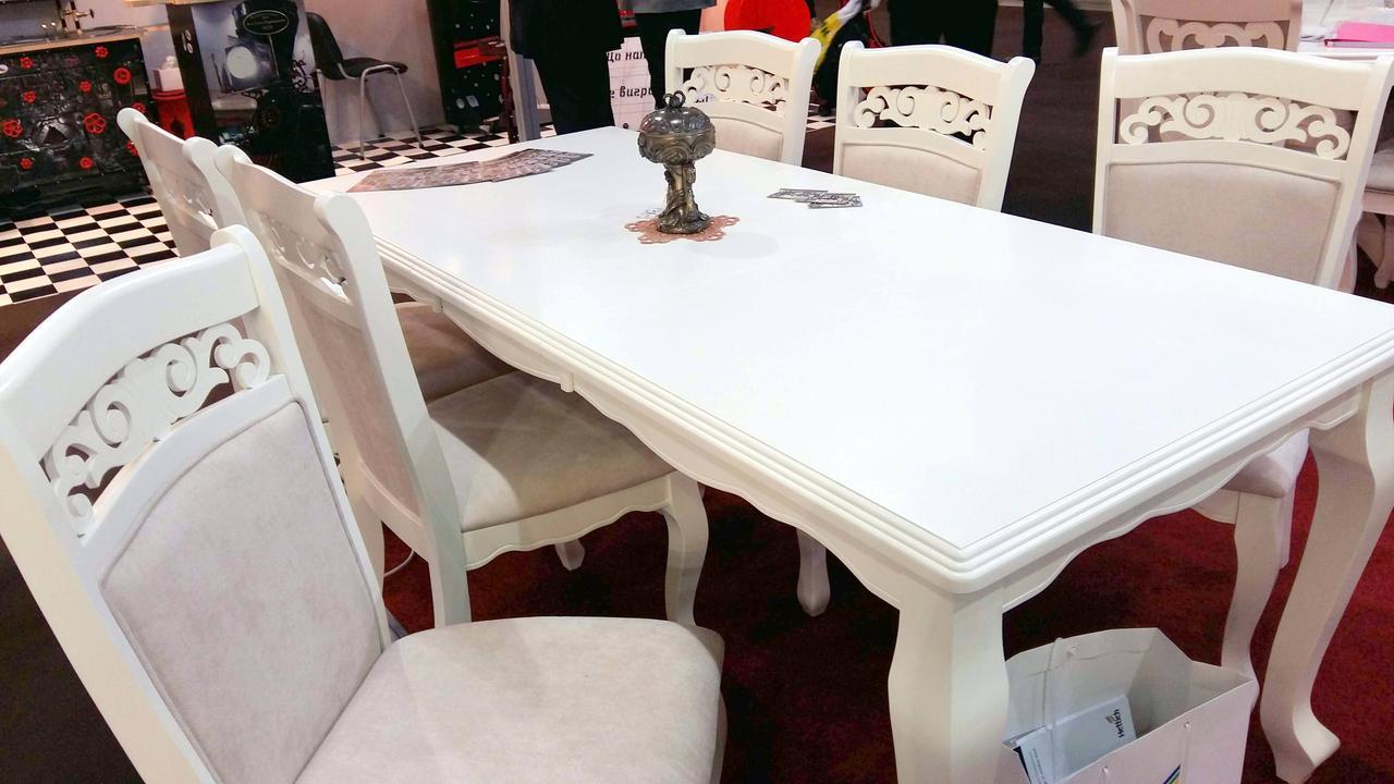 Стол обеденный деревянный Вена (Відень) Sof, цвет белый