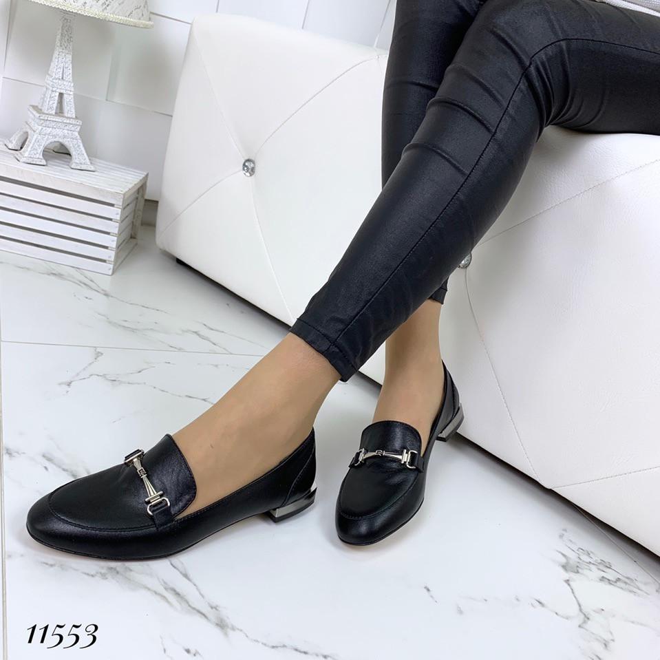 Туфли женские кожаные черные на низком ходу