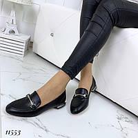Туфли женские кожаные черные на низком ходу, фото 1