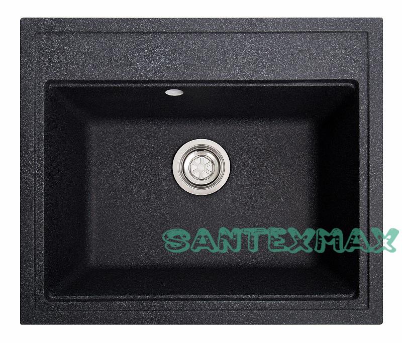 Кухонная каменная мойка Solid Гросс черный ( гранит ) 60x52