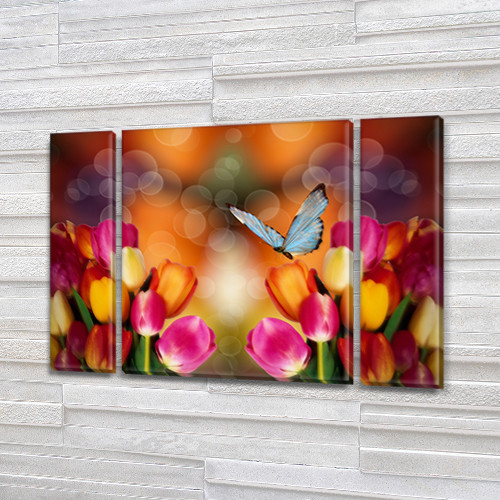 Тюльпаны и Бабочки, модульная картина (Цветы) на Холсте син., 75x100 см, (75x18-2/75х60)