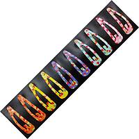 Заколка тік-так на чолку (хлопалка) в дрібні клубнічки 5 см, уп. 10 шт. (по 2 кожного кольору), фото 1