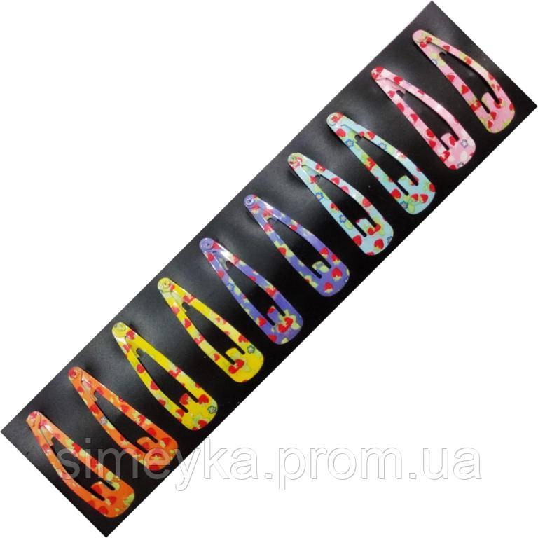 Заколка тік-так на чолку (хлопалка) в дрібні клубнічки 5 см, уп. 10 шт. (по 2 кожного кольору)