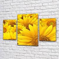 Желтые Подсолнухи, модульная картина (Цветы) на Холсте, 80х120 см, (55x35-2/80x45), фото 1