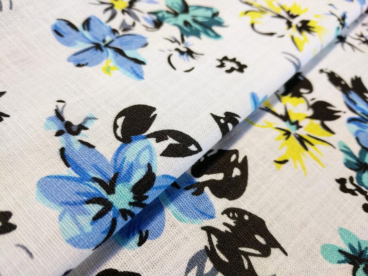 Лен стрейчевый цветочный, голубой на белом