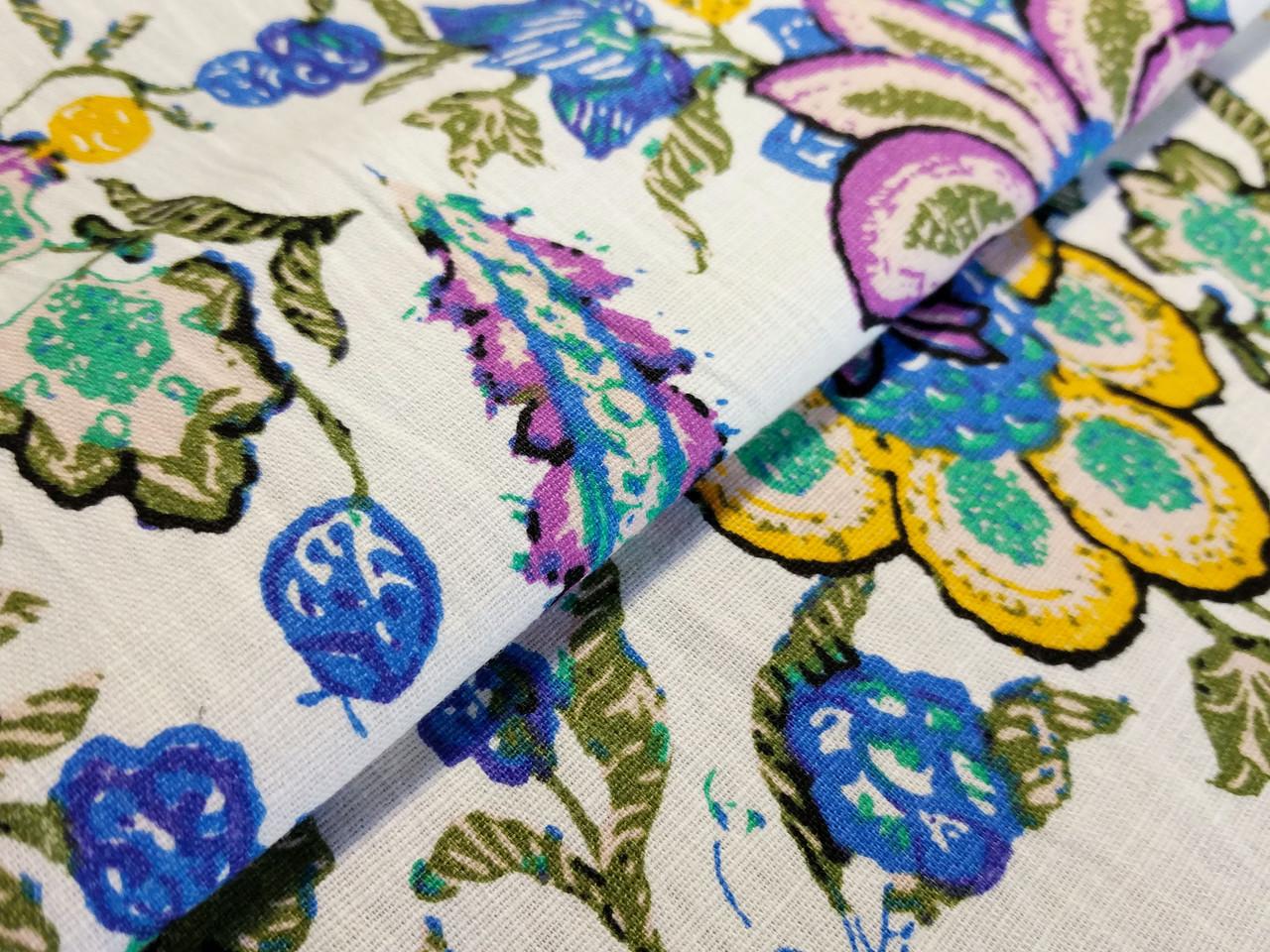 Лен стрейчевый яркие цветы, голубой на белом