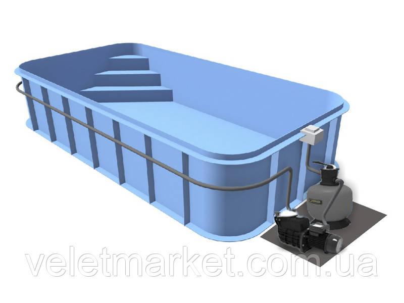 Бассейн Econ Trend B (5х3х1,5) + фильтровальная установка