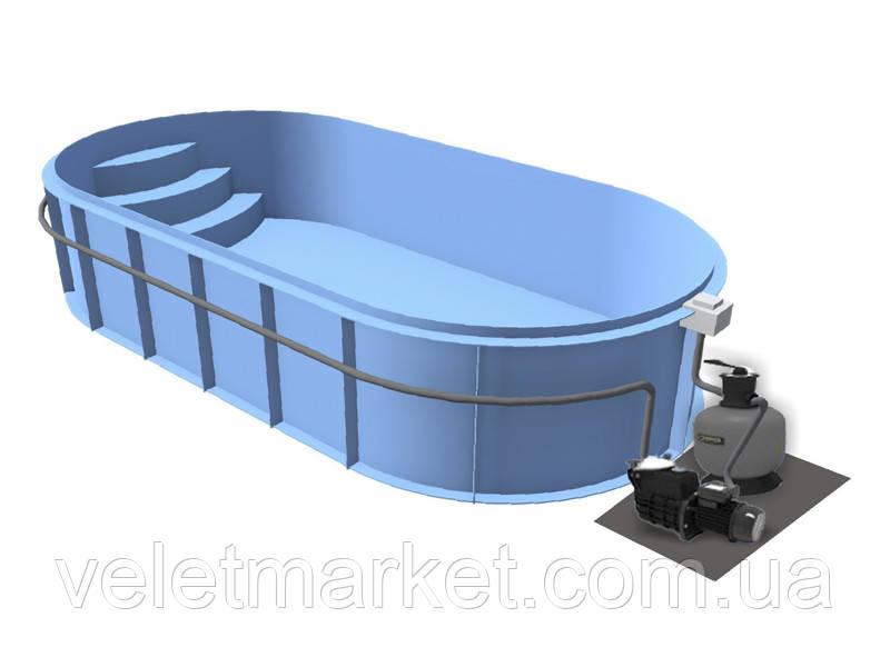 Бассейн Econ Basic D (7,5х3х1,5) + фильтровальная установка