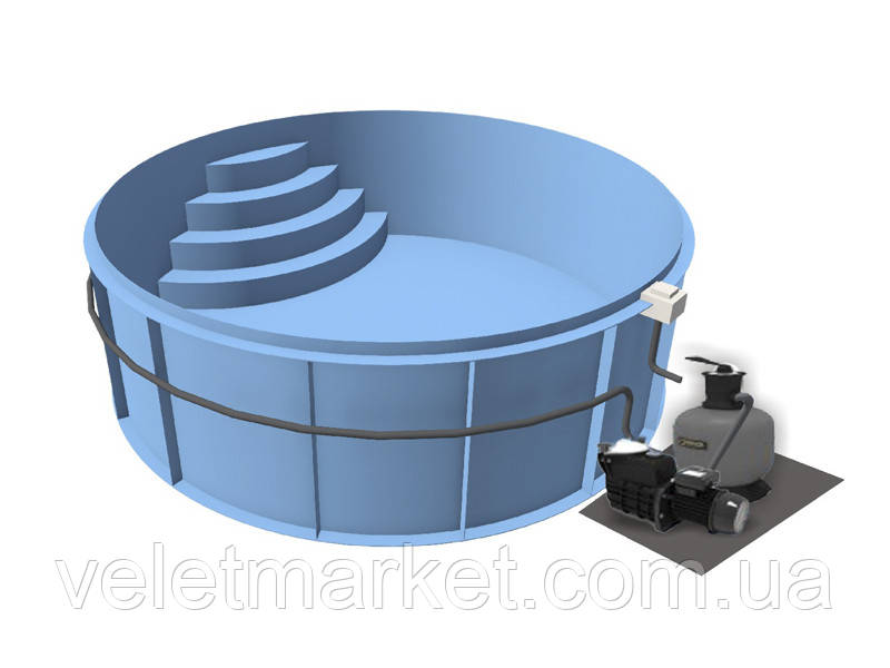Бассейн Econ Sun E (⌀5х1,2)+ фильтровальная установка