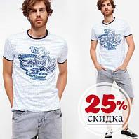Белая мужская футболка De Facto / Де Факто с мотоциклом