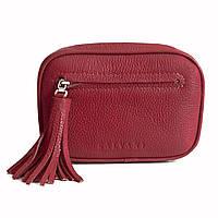 Женская кожаная сумка бургунди