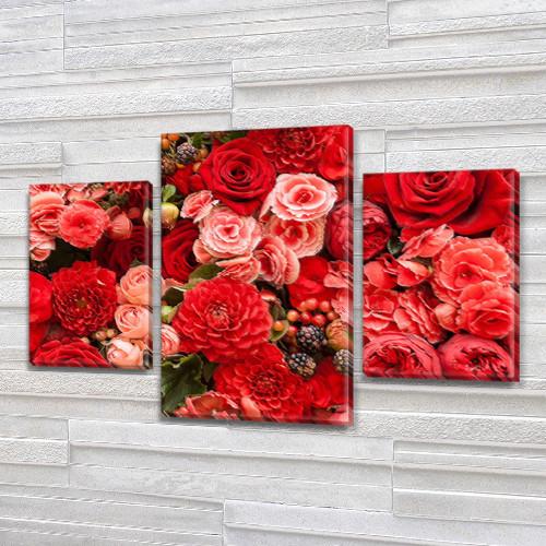 Красные Розы, модульная картина (Цветы) на Холсте, 80х120 см, (55x35-2/80x45)