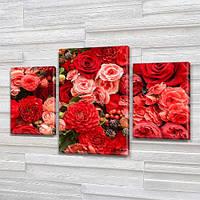 Красные Розы, модульная картина (Цветы) на Холсте, 80х120 см, (55x35-2/80x45), фото 1