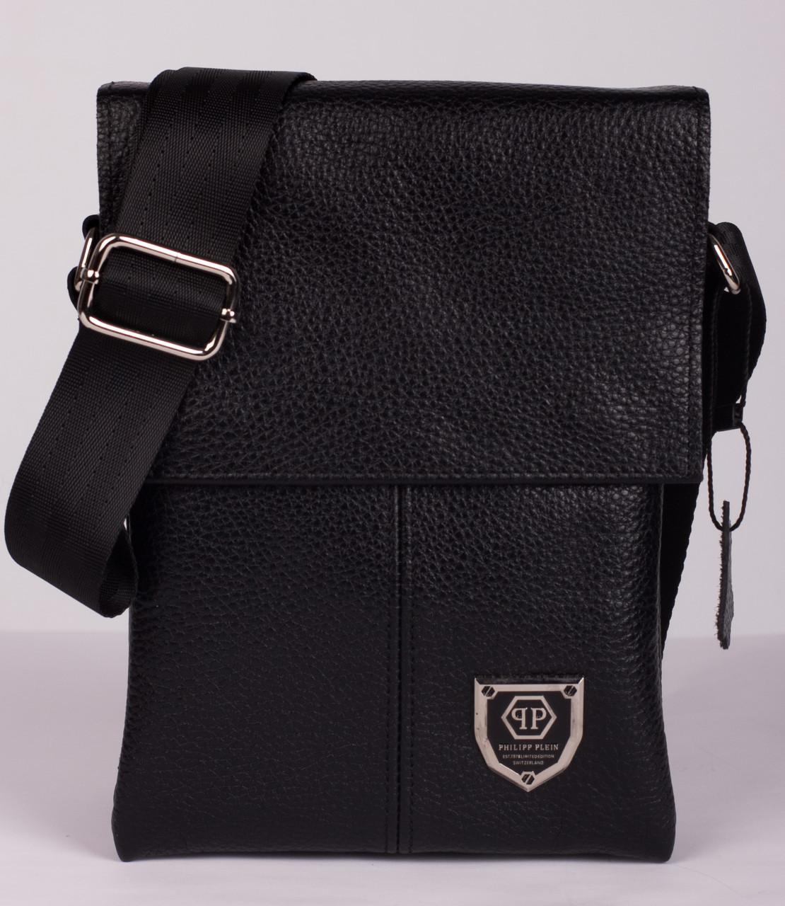 Кожаная мужская сумка Philipp Plein 21х16 см. Мужская сумка из натуральной кожи