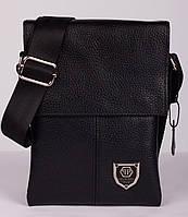 Кожаная мужская сумка Philipp Plein 21х16 см. Мужская сумка из натуральной кожи, фото 1