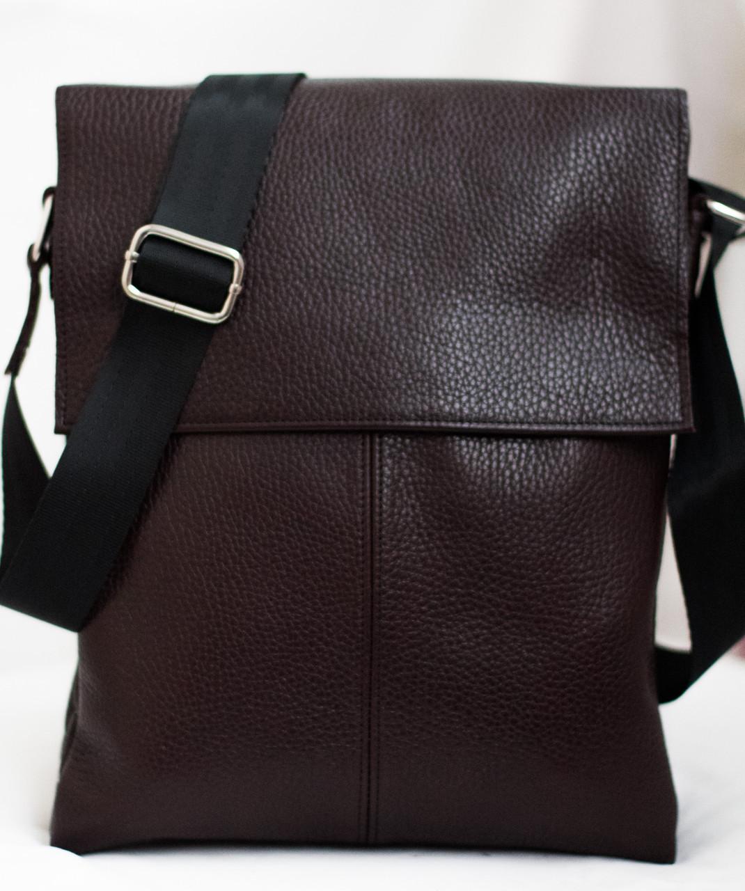 Мужская кожаная сумка коричневая 29х24 см. Мужская сумка из натуральной кожи