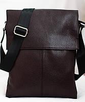 Мужская кожаная сумка коричневая 29х24 см. Мужская сумка из натуральной кожи, фото 1