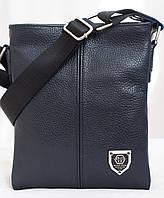 Синяя кожанная мужская сумка Philipp Plein 22х18 см. Мужская сумка из натуральной кожи, фото 1