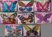 Бабочка с двойными крыльями с присыпкой на магните 20см