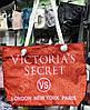 Сумка пляжная Victoria's Secret 116063 красная с блестками текстильная женская канаты на молнии 45*35*15см