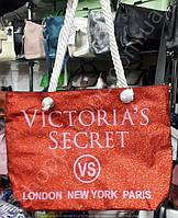 Сумка пляжная Victoria's Secret 116063 красная с блестками текстильная женская канаты на молнии 45*35*15см, фото 1