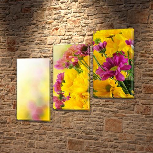 Хризантемы, модульная картина (Цветы) на Холсте, 100х110 см, (70x35-3)