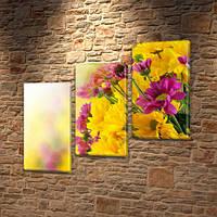 Хризантемы, модульная картина (Цветы) на Холсте, 100х110 см, (70x35-3), фото 1