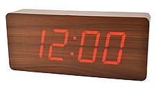 Часы VST 865 коричневое дерево (красная подсветка)