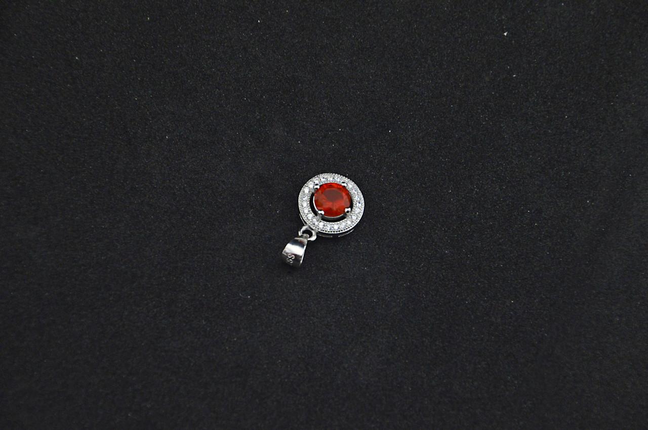Серебряный кулон Звездочка с красным камнем серебро 925 пробы