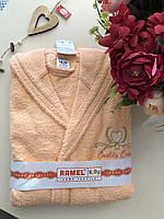 Банный махровый халат с капюшоном подросток оранжевый Ramel