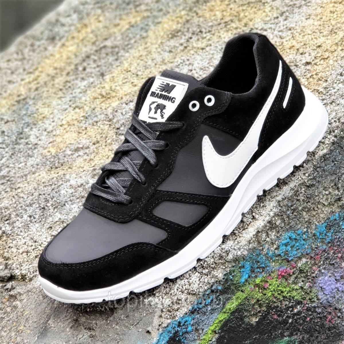 Кожаные мужские кроссовки натуральная кожа замша черные, легкая белая подошва, стильные (Код: 1382)