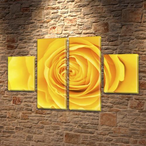 Модульная картина на холсте Желтая роза (Цветы), 80x130 см, (40x30-2/80х30-2)