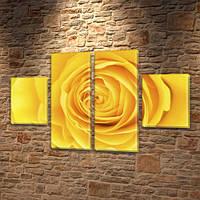 Модульная картина на холсте Желтая роза (Цветы), 80x130 см, (40x30-2/80х30-2), фото 1