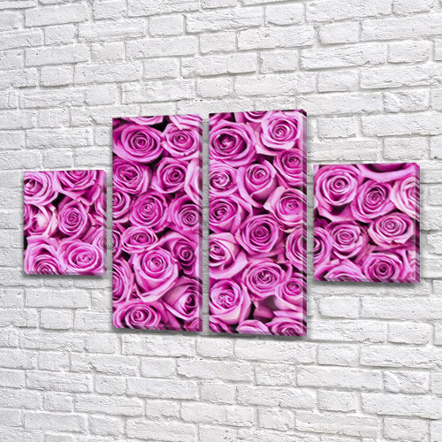 Розовые розы, модульная картина (Цветы) на Холсте, 80x130 см, (40x30-2/80х30-2)