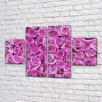 Розовые розы, модульная картина (Цветы) на Холсте, 80x130 см, (40x30-2/80х30-2), фото 1