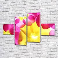 Солнечные цветы, модульная картина (Цветы) на ПВХ ткани, 70x110 см, (25x25-2/65х25-2)